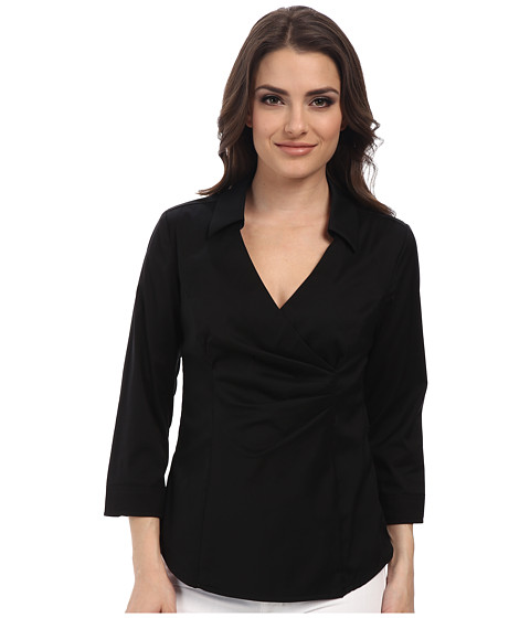 NYDJ Petite - Petite Fit Solution Wrap Blouse (Black) Women
