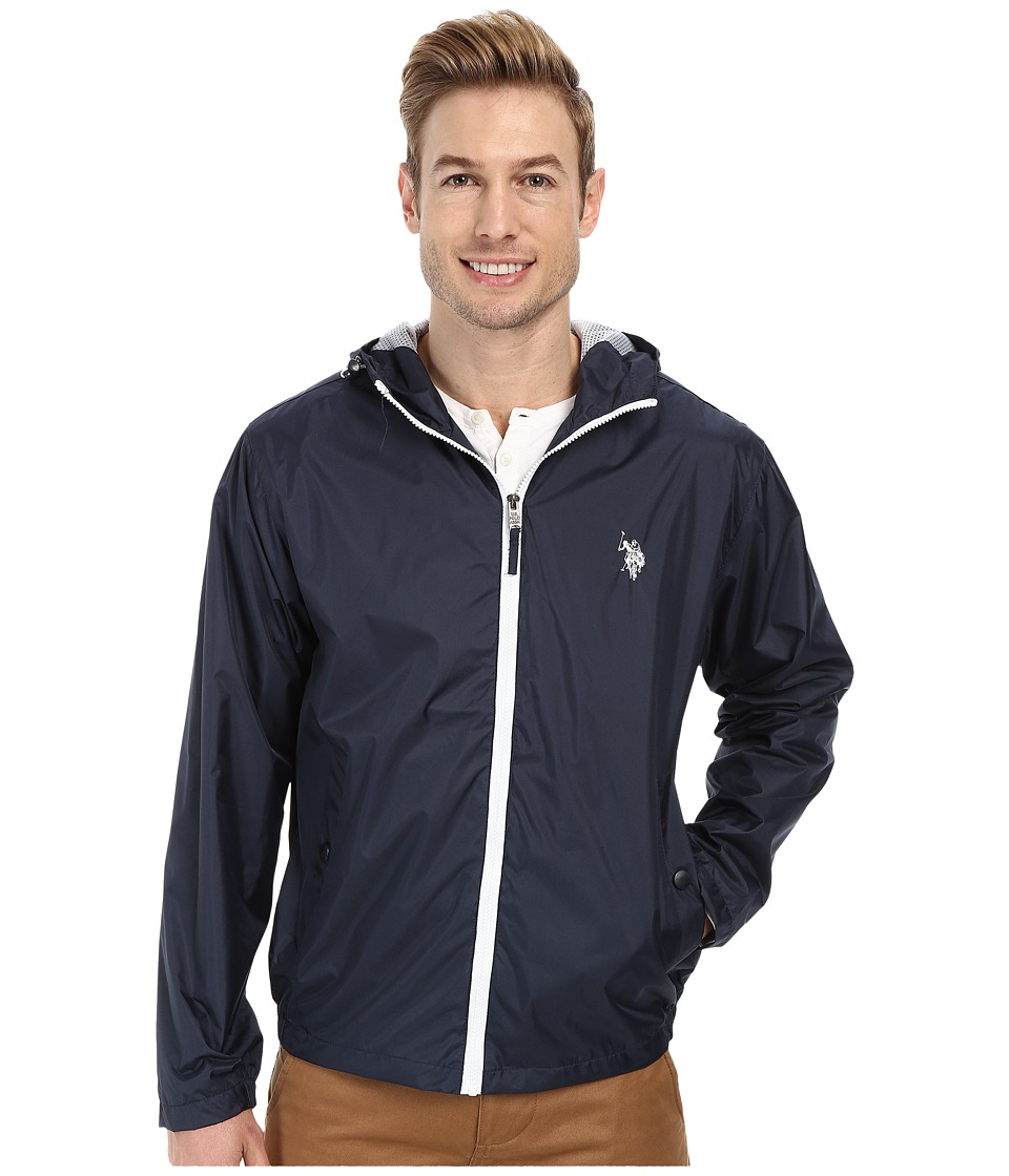 U.S. POLO ASSN. - Fixed Hood Windbreaker (Classic Navy) Men's Coat