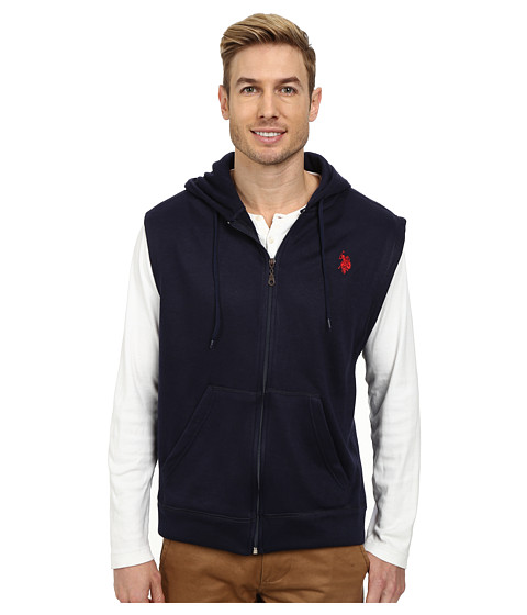 U.S. POLO ASSN. - Fleece Sleeveless Hoodie (Classic Navy) Men