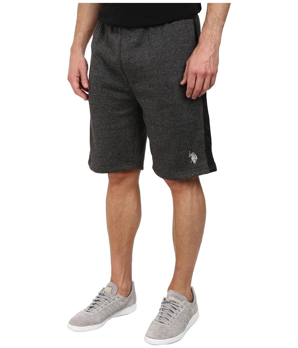 U.S. POLO ASSN. - Fleece Shorts with Side Stripe (Heather Dark Gray) Men's Shorts