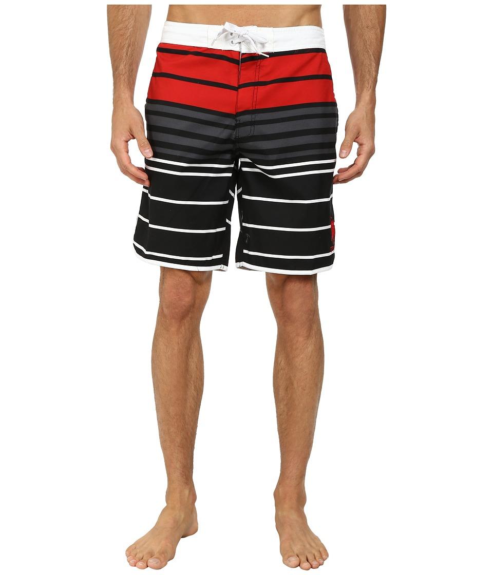 U.S. POLO ASSN. - Tri-Color Block Boardshorts (Black) Men's Swimwear