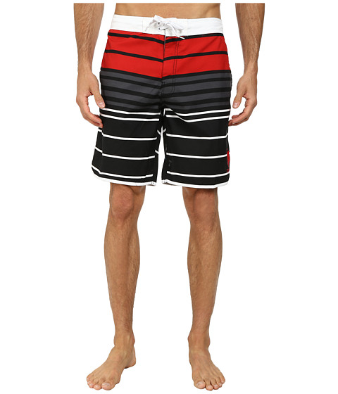U.S. POLO ASSN. - Tri-Color Block Boardshorts (Black) Men's Swimwear