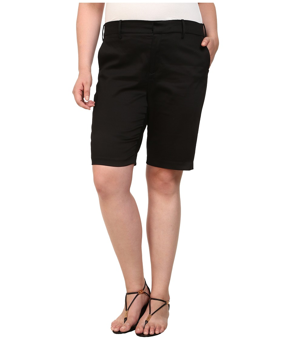 NYDJ Plus Size - Plus Size Justina Shorts - Sateen (Black) Women