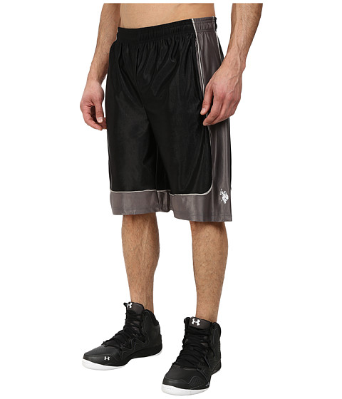 U.S. POLO ASSN. - Athletic Shorts with Dazzle Side Panel (Black) Men's Shorts