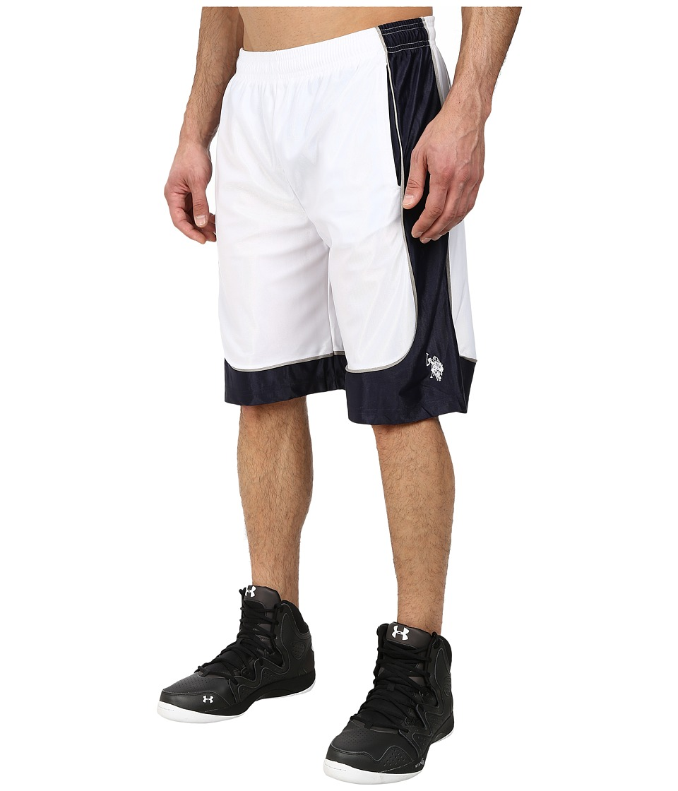 U.S. POLO ASSN. - Athletic Shorts with Dazzle Side Panel (White) Men's Shorts