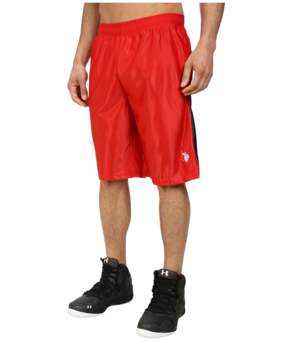 U.S. POLO ASSN. Color Block Dazzle Athletic Shorts (Engine Red) Men