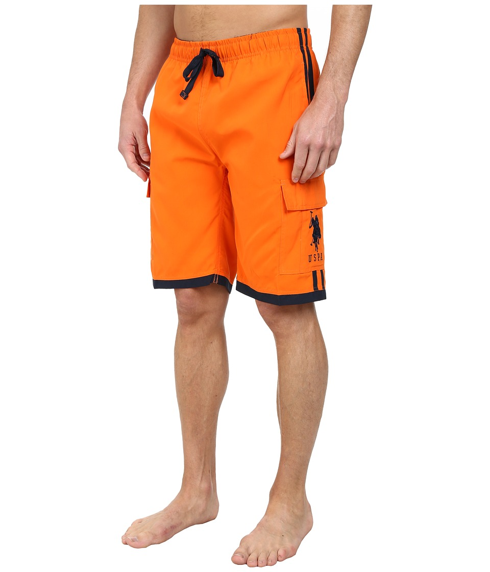 U.S. POLO ASSN. - 11 Double Side Stripe Cargo (Summer Orange) Men's Swimwear