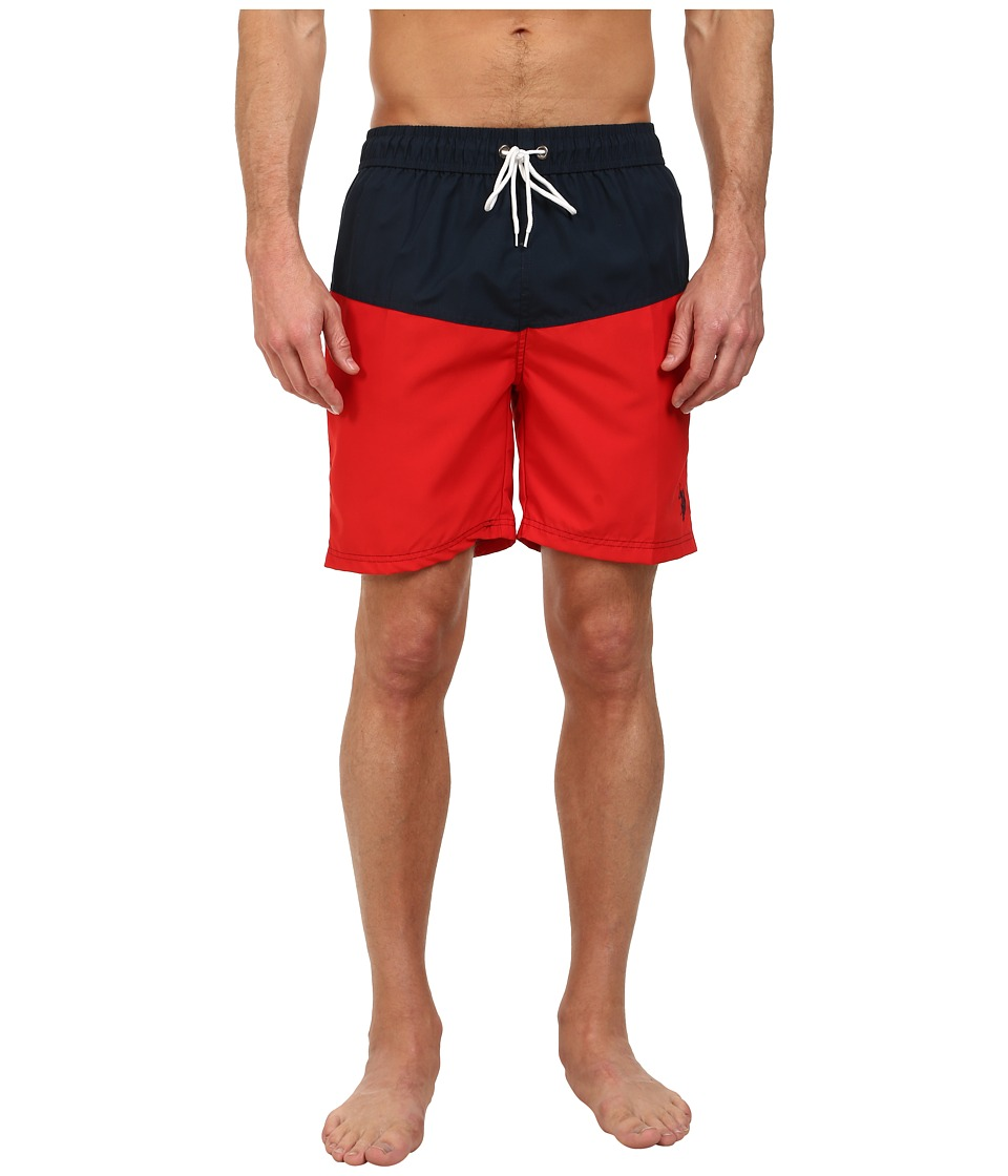 U.S. POLO ASSN. - Color Block 7 Inch Swim Shorts (Engine Red) Men's Swimwear