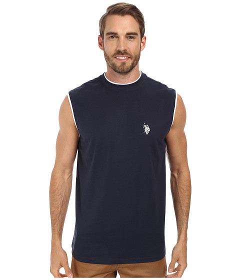 U.S. POLO ASSN. - Faux Layer Muscle T-Shirt (Classic Navy) Men's Sleeveless