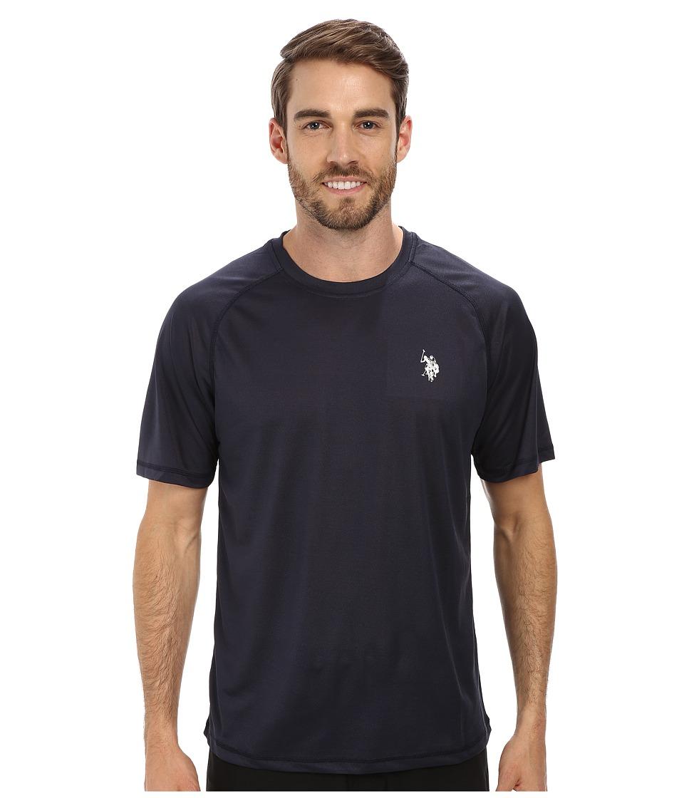 U.S. POLO ASSN. - Solid Rashguard UPF 50+ Swim T-Shirt (Classic Navy) Men's Short Sleeve Pullover