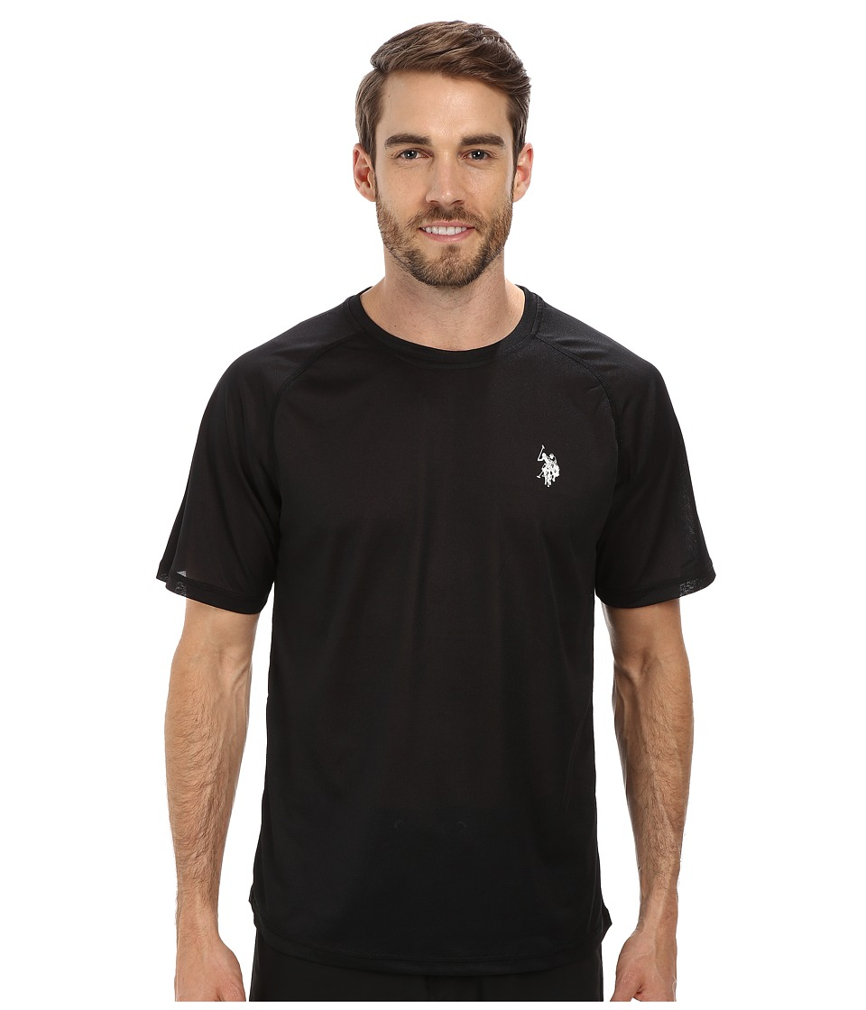 U.S. POLO ASSN. - Solid Rashguard UPF 50+ Swim T-Shirt (Black) Men's Short Sleeve Pullover