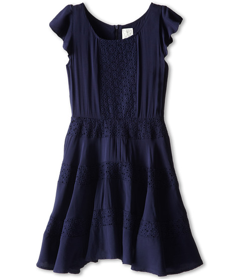 Ella Moss Girl - Ava Ruffle Sleeve Eyelet Dress (Big Kids) (Navy) Girl's Dress
