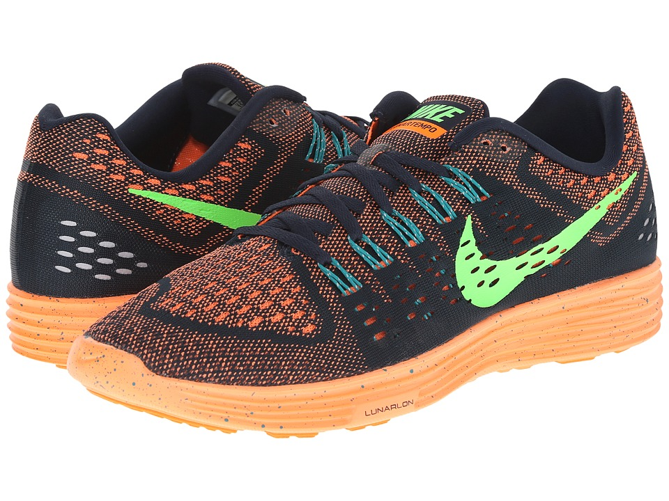 Nike - LunarTempo (Dark Obsidian/Total Orange/Radiant Emerald/Voltage Green) Men's Running Shoes