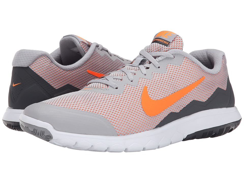 Nike - Flex Experience Run 4 (Wolf Grey/Dark Grey/White/Total Orange) Men's Running Shoes