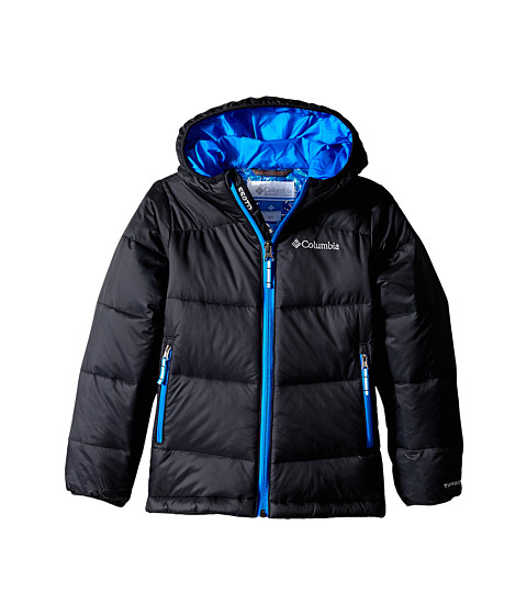 Columbia Kids - Gold 550 TurboDown Hooded Down Jacket (Little Kids/Big Kids) (Black/Hyper Blue) Boy