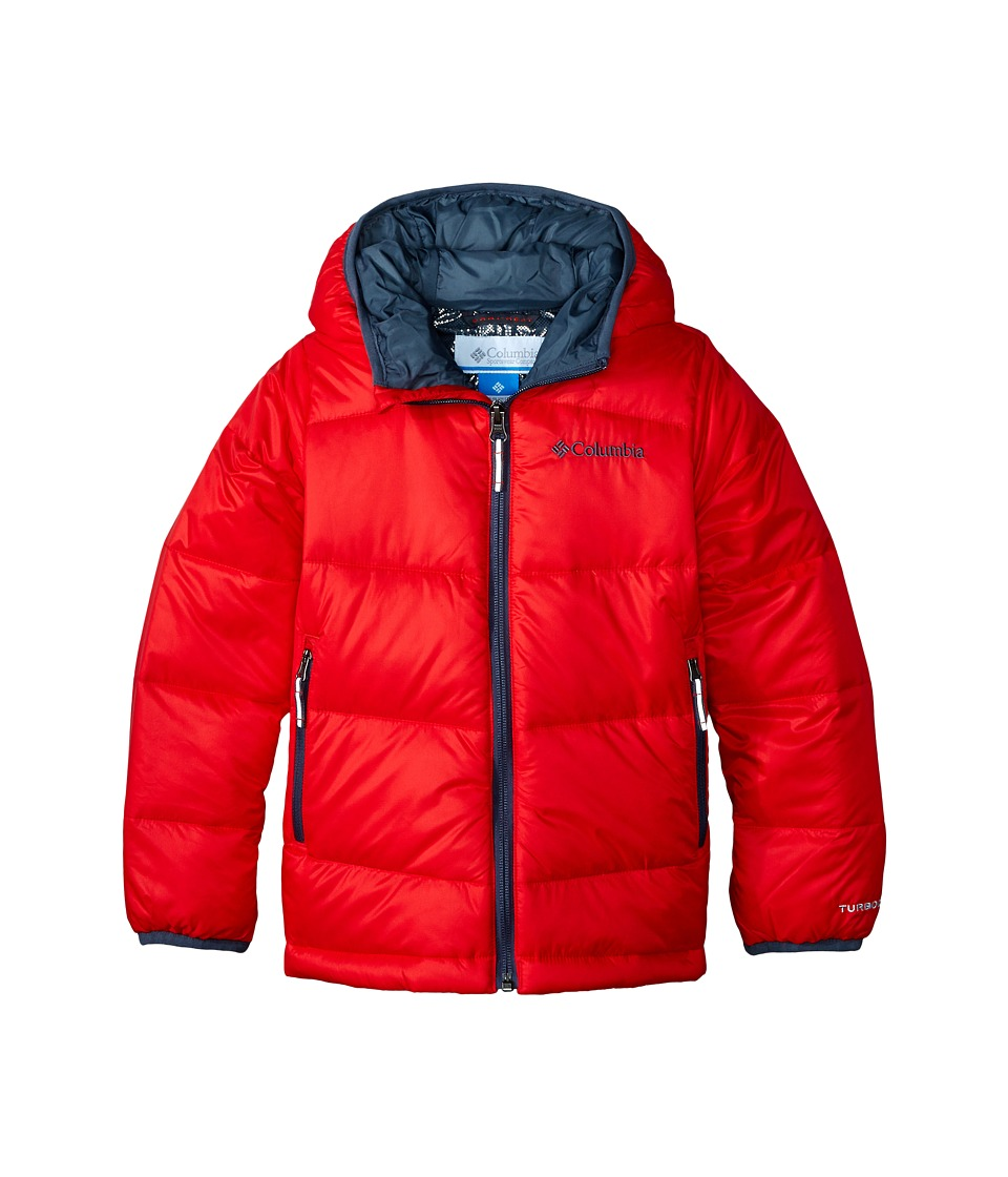Columbia Kids - Gold 550 TurboDown Hooded Down Jacket (Little Kids/Big Kids) (Bright Red/Graphite) Boy