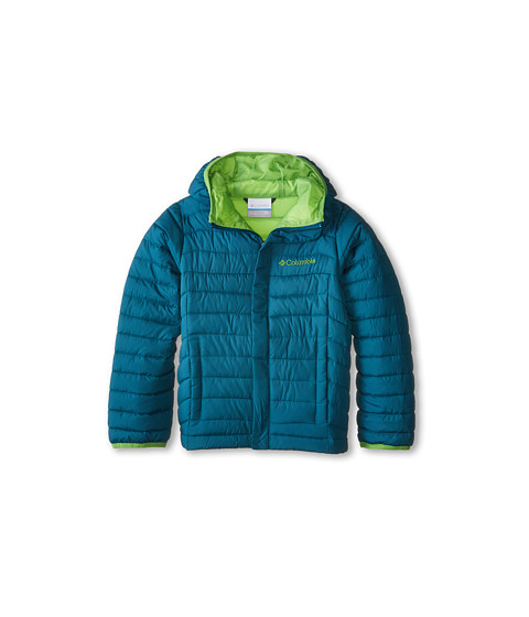 Columbia Kids - Powder Lite Puffer (Little Kids/Big Kids) (Deep Wave/Cyber Green) Boy's Coat
