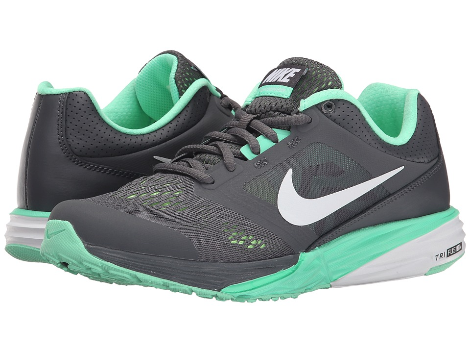 Nike - Tri Fusion Run (Dark Grey/Green Glow/Ghost Green/White) Women's Running Shoes