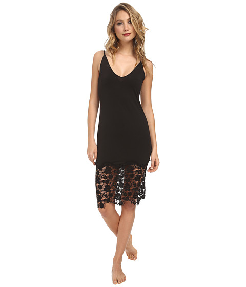 Free People - Jersey Lace True Slinky Bodycon Slip (Black) Women