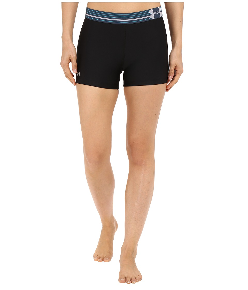 Under Armour - UA HeatGear(r) Armour Compression Shorty (Black/Mechanic Blue/Metallic Silver) Women's Shorts