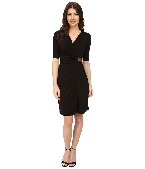 Tommy Bahama - Tambour Beaded Wrap Dress (Black) Women's Dress