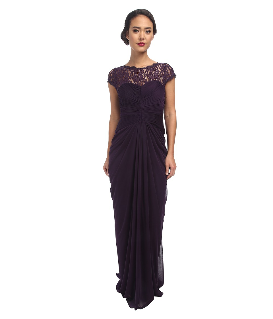 Adrianna Papell - Lace Bodice On Draped Skirt (Aubergine) Women's Dress