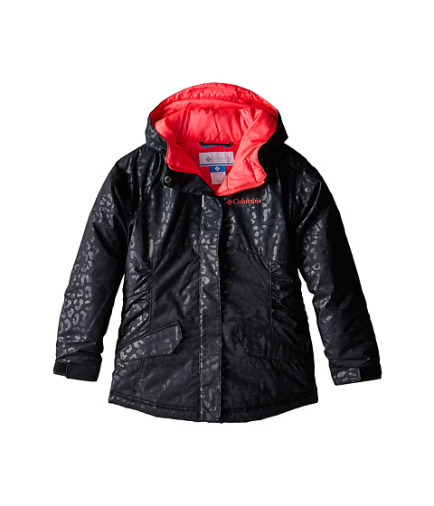 Columbia Kids - Razzmadazzle Jacket (Little Kids/Big Kids) (Black Animal Emboss/Laser Red Pops) Girl's Coat