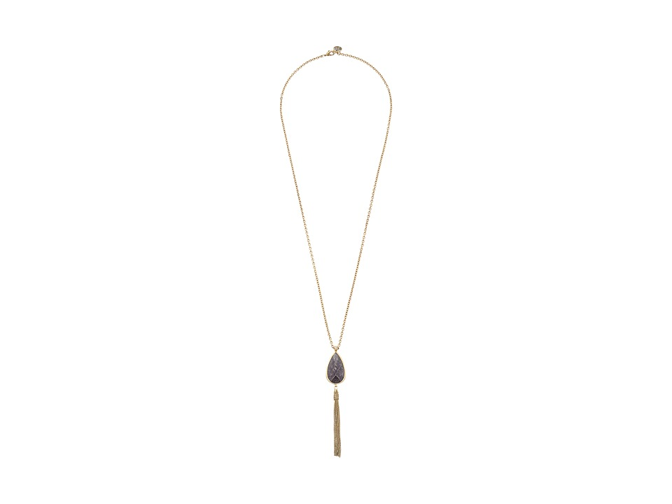 The Sak - Stone Tassel Y-Neck (Charcoal) Necklace
