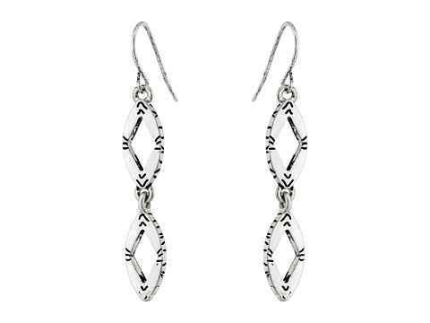 The Sak - Open Oval Double Drop Earrings (Silver) Earring