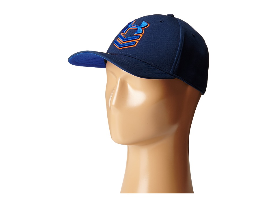 Under Armour - UA Undeniable Stretch Fit Cap (Academy/Cobalt/Bolt Orange) Baseball Caps
