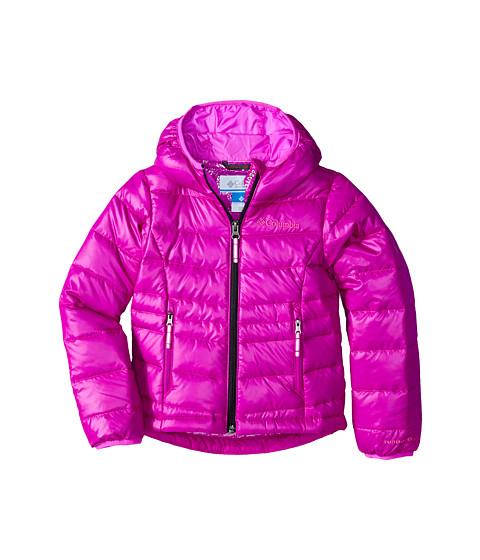 Columbia Kids - Gold 550 TurboDown Hooded Down Jacket (Little Kids/Big Kids) (Bright Plum/Foxglove/Black Zip) Girl