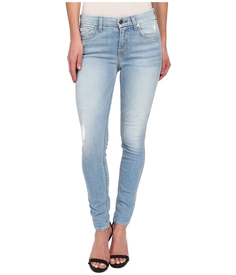 7 For All Mankind - The Skinny w/ Knee Hole in Light Sky 2 (Light Sky 2) Women