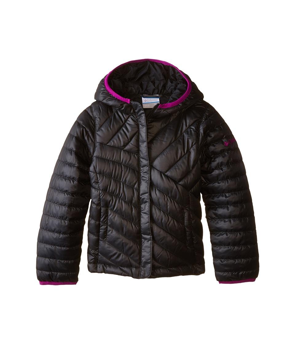 Columbia Kids - Powder Lite Puffer (Little Kids/Big Kids) (Black/Bright Plum) Girl's Coat