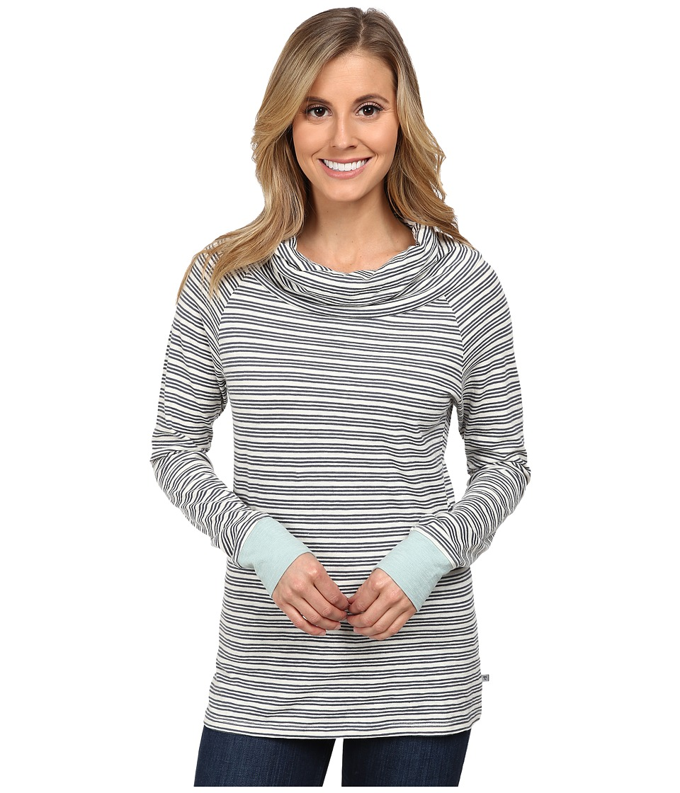 Toad&Co - Stripe Out Boat Twisted Slouch Collar Tee (Storm Grey Stripe/Arctic) Women's Long Sleeve Pullover