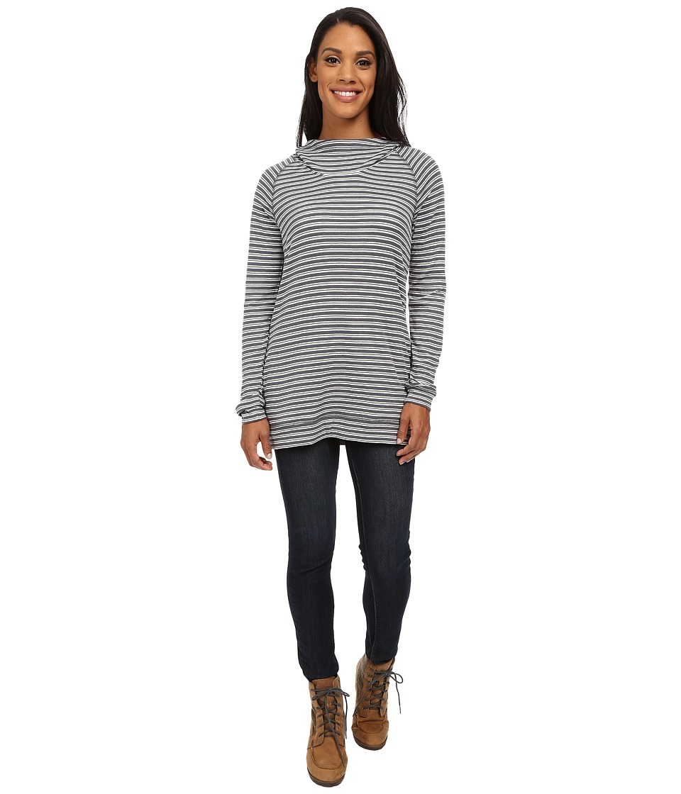 Toad&Co - Indulgent Hoodie Tunic (Storm Grey Stripe) Women's Long Sleeve Pullover