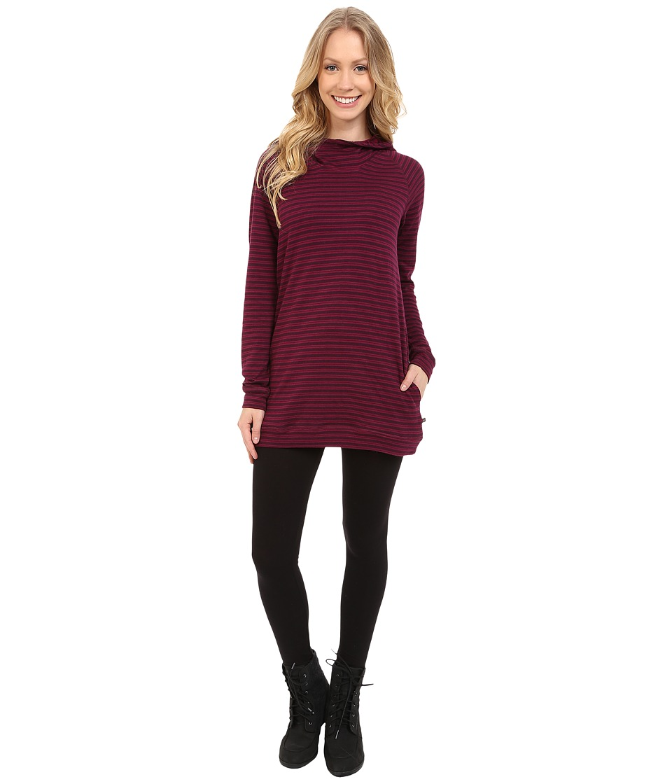 Toad&Co - Indulgent Hoodie Tunic (Tyrian Purple Stripe) Women's Long Sleeve Pullover
