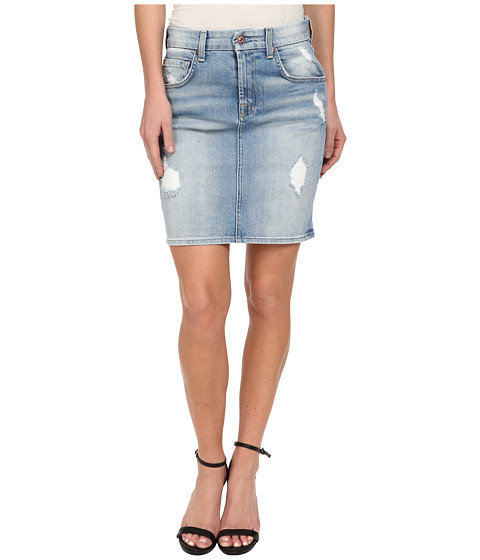 7 For All Mankind - Mid Length Pencil Skirt w/ Destroy in Light Sky 3 (Light Sky 3) Women's Skirt