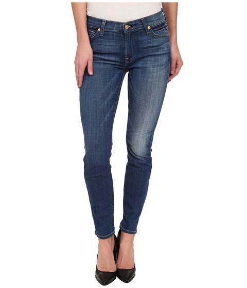 7 For All Mankind - The Ankle Skinny in Medium Broken Twill (Medium Broken Twill) Women