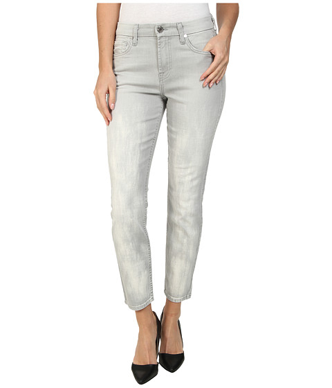 7 For All Mankind - Mid Rise Crop Skinny w/ Bleach in Distressed Spring Grey (Distressed Spring Grey) Women's Jeans