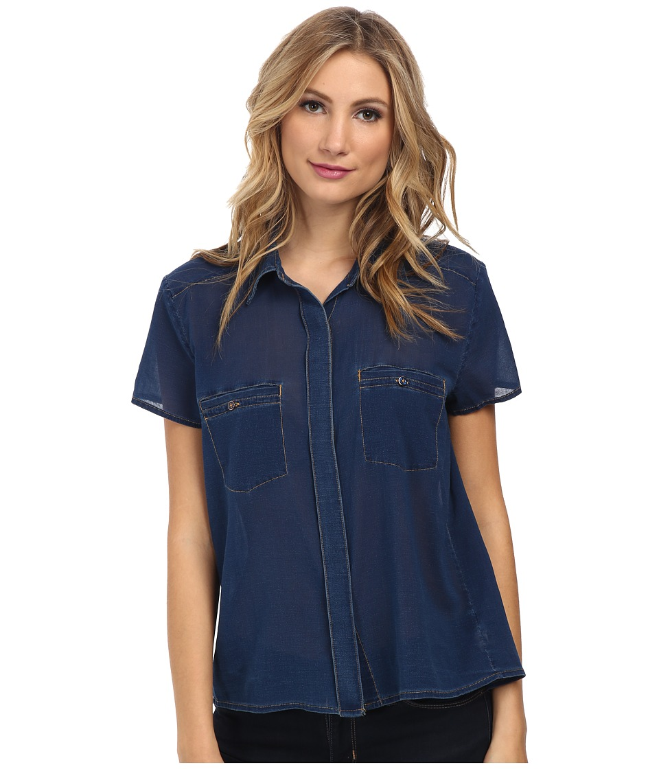 7 For All Mankind - Two-Pocket Blouse w/ Open Back (Deep Indigo) Women