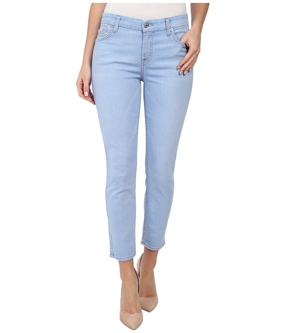 7 For All Mankind - Crop Skinny w/ Contour Waistband in Bleached Aquamarine (Bleached Aquamarine) Women's Jeans