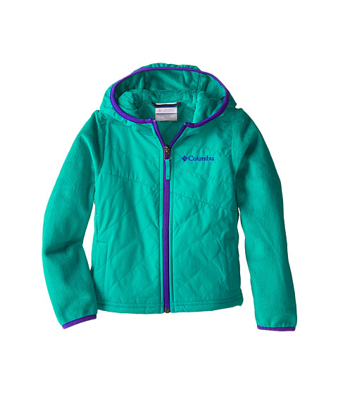 Columbia Kids - Pearl Plush II Hybrid Hoodie (Little Kids/Big Kids) (Mayan Green/Light Grape) Girl
