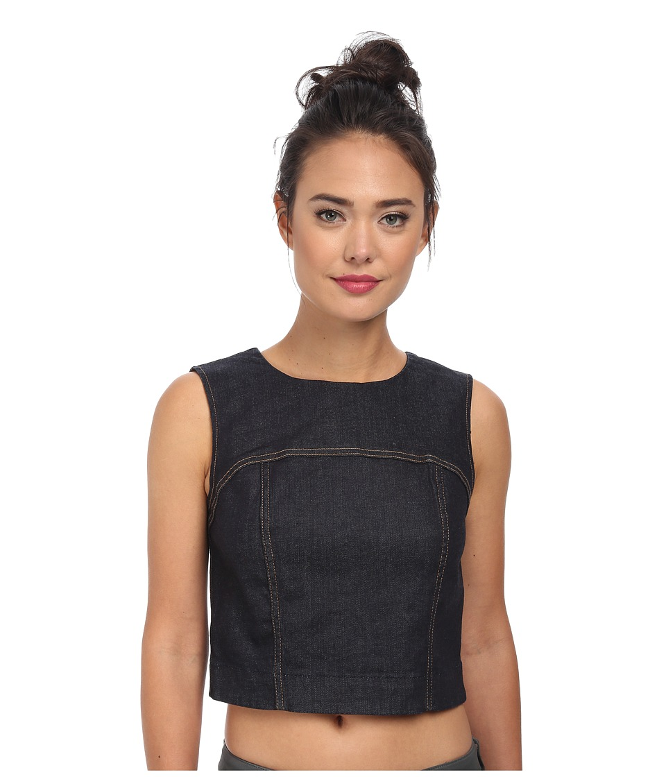7 For All Mankind - Crop Seamed Tank Top (Rich Rinse Runway Denim) Women