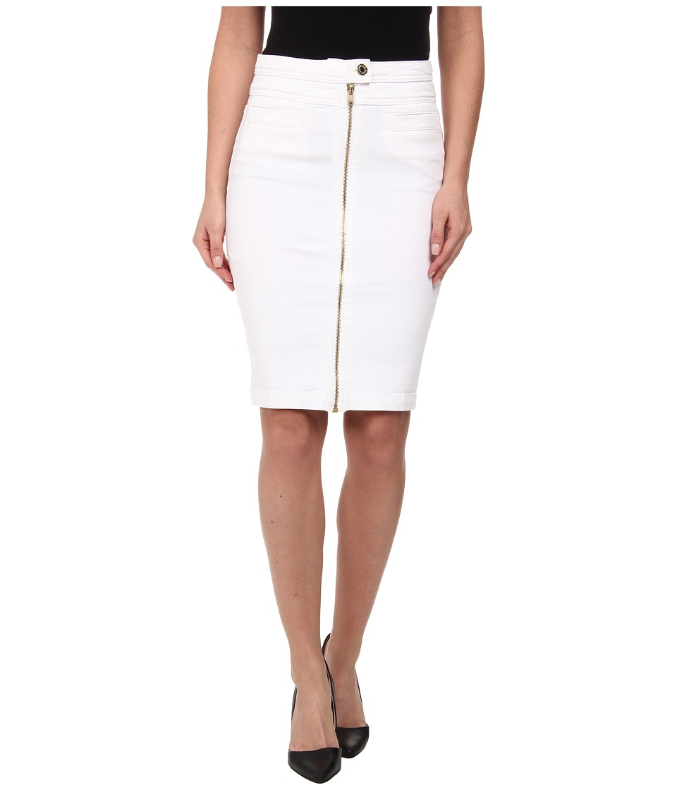 7 For All Mankind - Front Zip Pencil Skirt (Gold Zipper) in Runway White (Runway White) Women