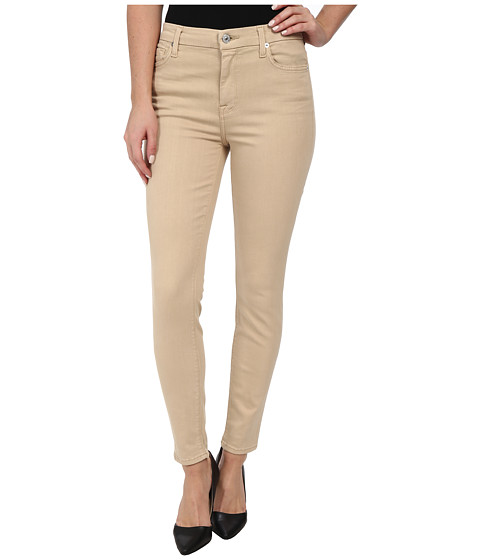 7 For All Mankind - The High Waist Ankle Skinny w/ Contour Waistband in Buff (Buff) Women