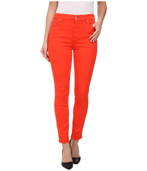 7 For All Mankind - The High Waist Ankle Skinny w/ Contour Waistband in California Poppy (California Poppy) Women