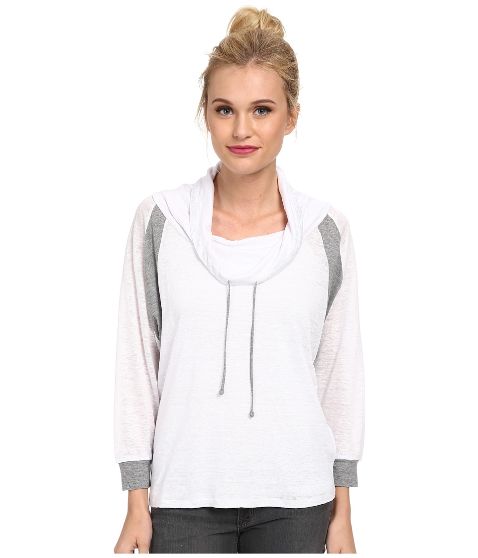 C&C California - Color Block Cowl Neck Pullover (White) Women's Long Sleeve Pullover
