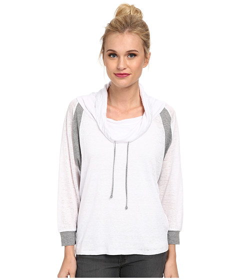 C&C California - Color Block Cowl Neck Pullover (White) Women