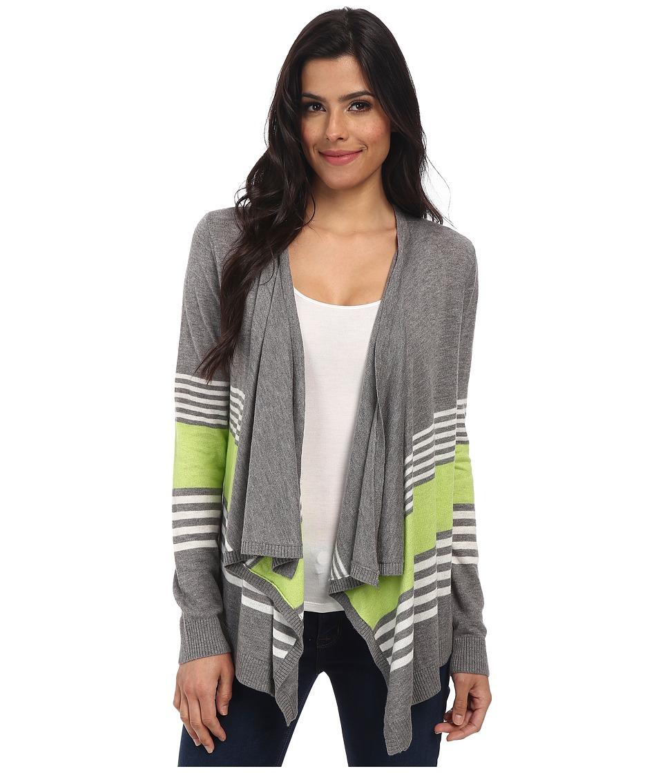 C&C California - Mixed Stripe Cardigan (Light Heather Grey) Women