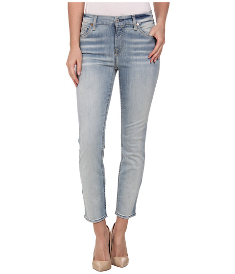 7 For All Mankind - Kimmie Crop in Slim Illusion Bright Ice Blue (Slim Illusion Bright Ice Blue) Women
